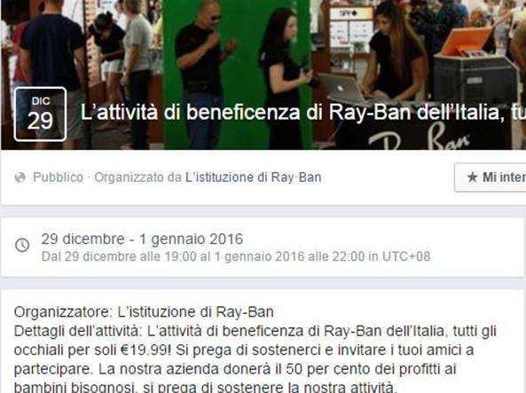 Virus Ray Ban Facebook torna a colpire