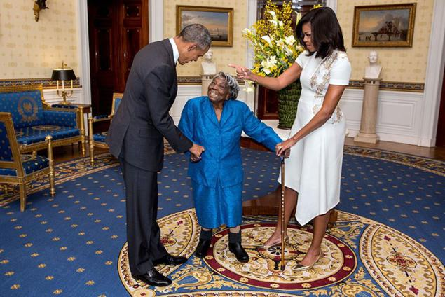 Virgina McLaurin Balla con Michelle e Barack Obama
