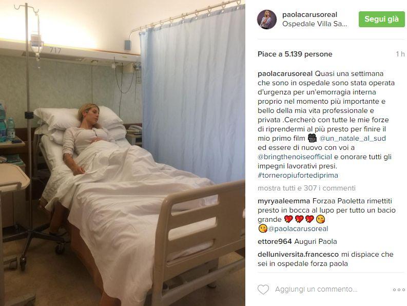 Paola Caruso: pancia piena di sangue per emorragia interna