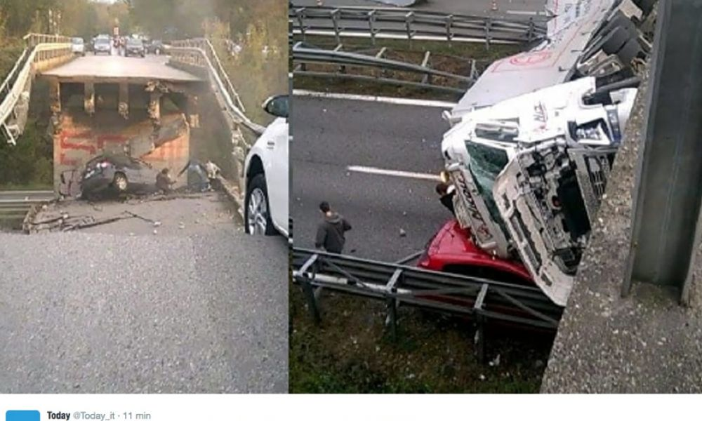 Crolla viadotto sulla Milano-Lecco: un morto e 5 feriti