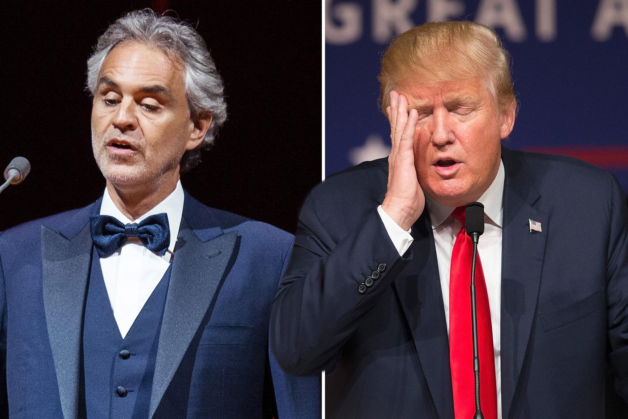 Usa, Bocelli non canterà per Trump