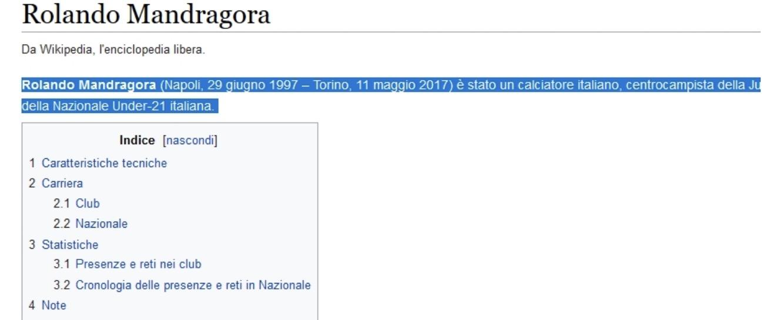 Rolando Mandragora morto sul web: fake news su Wikipedia