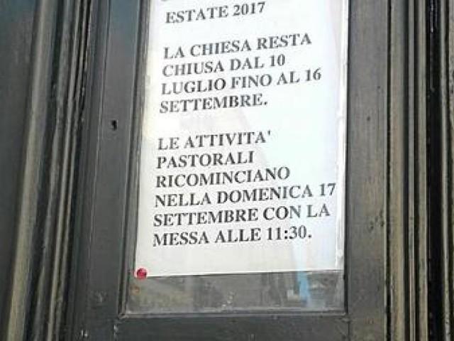 Roma, chiesa chiude per ferie: prossima messa il 17 settembre