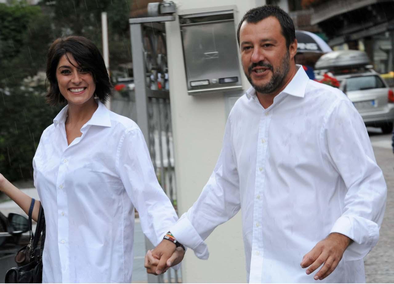 Matteo Salvini ed Elisa Isoardi al raduno leghista di Ponte di Legno