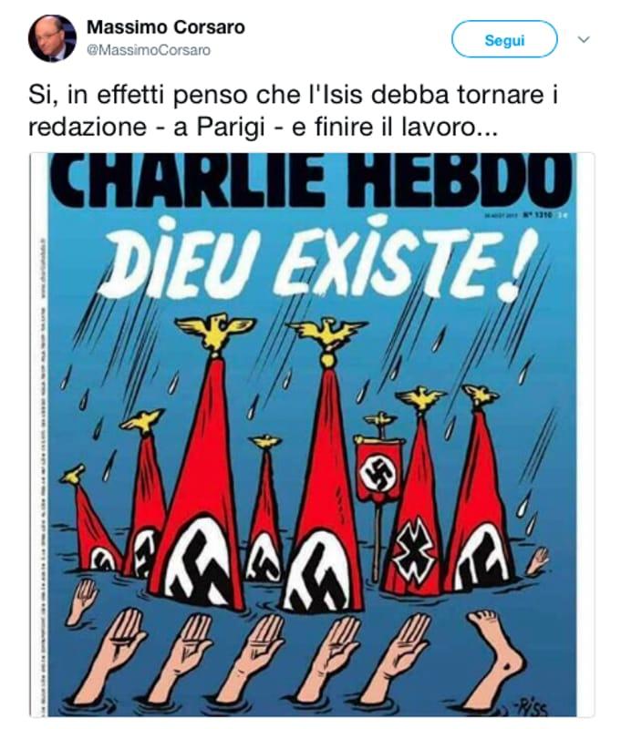 Onorevole Corsaro Vs Charlie Hebdo: 'Isis Deve Finire il Lavoro'