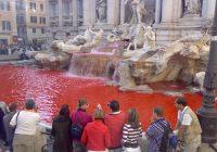 Fontana di Trevi, Graziano Cecchini la fa diventare rossa