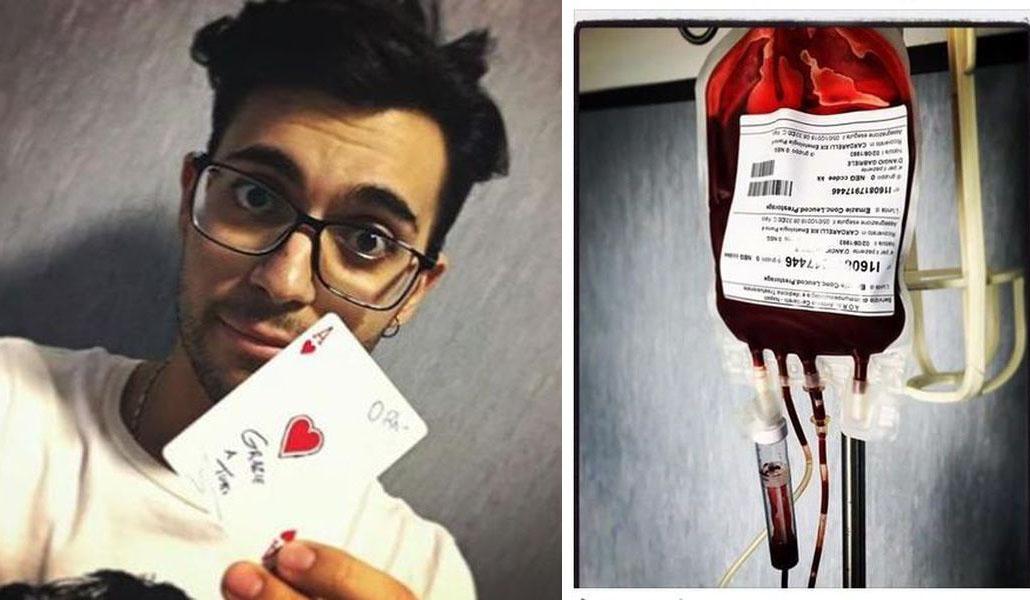 Gabriele D'Angiò trasfusione leucemia Facebook