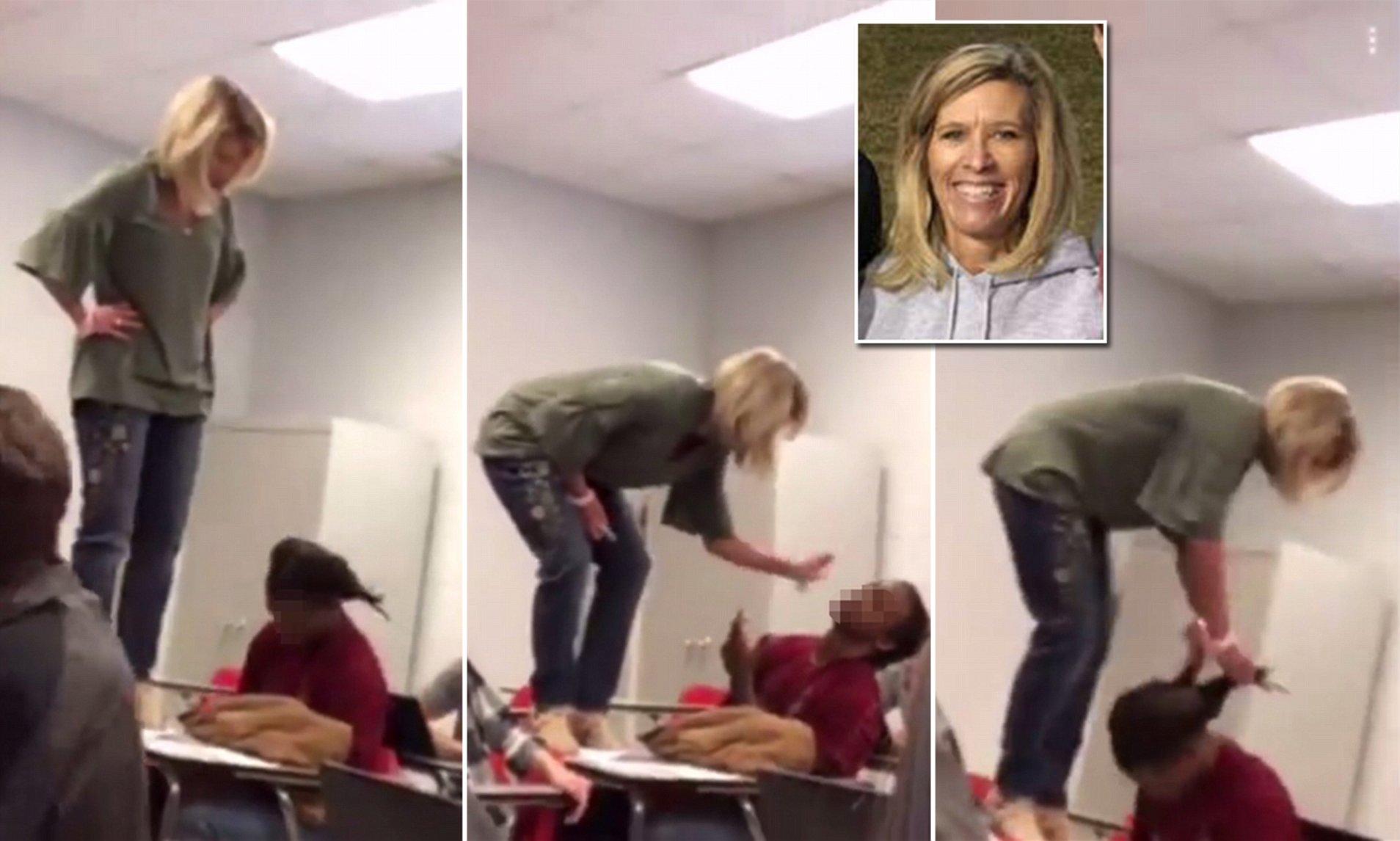 Insegnante Lisa Houston picchia studente in classe