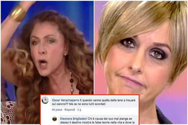 Nadia Toffa cancro, Eleonora Brigliadori all'attacco su Facebook